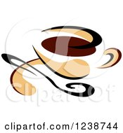 Clipart Of A Brown And Tan Coffee Cup With A Spoon Royalty Free Vector Illustration
