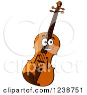 Clipart Of A Happy Violin Character Royalty Free Vector Illustration