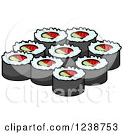 Clipart Of Sushi Rolls Royalty Free Vector Illustration by Seamartini Graphics
