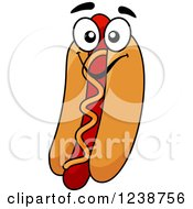 Clipart Of A Cartoon Hot Dog Character With Mustard Royalty Free Vector Illustration