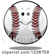 Clipart Of A Happy Floating Baseball Character Royalty Free Vector Illustration