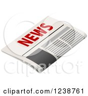 Clipart Of A Newspaper With Red Text Royalty Free Vector Illustration by Vector Tradition SM