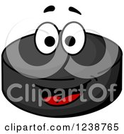 Clipart Of A Happy Hockey Puck Character Royalty Free Vector Illustration