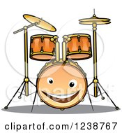 Clipart Of A Happy Drum Set Character Royalty Free Vector Illustration