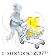 Clipart Of A 3d Silver Man Pushing A Percent Symbol In A Shopping Cart Royalty Free Vector Illustration