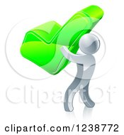 Clipart Of A 3d Silver Man Holding A Giant Green Check Mark Royalty Free Vector Illustration
