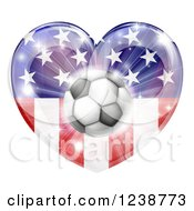 Clipart Of A 3d Soccer Ball Over An American Flag Heart And Burst Of Fireworks Royalty Free Vector Illustration by AtStockIllustration