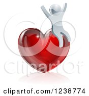 Clipart Of A 3d Silver Man Cheering On A Red Heart Royalty Free Vector Illustration