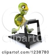 Clipart Of A 3d Tortoise Turtle Running On A Treadmill 4 Royalty Free Illustration