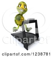Clipart Of A 3d Tortoise Turtle Running On A Treadmill 5 Royalty Free Illustration