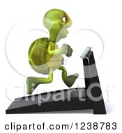 Clipart Of A 3d Tortoise Turtle Running On A Treadmill 2 Royalty Free Illustration