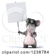 Clipart Of A 3d Koala Wearing Sunglasses And Pointing Up At A Sign Royalty Free Illustration