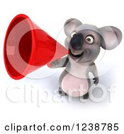 Clipart Of A 3d Koala Announcing With A Red Megaphone Royalty Free Illustration