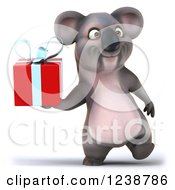 Clipart Of A 3d Koala Walking And Holding A Present Royalty Free Illustration