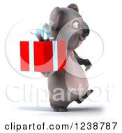 Clipart Of A 3d Koala Walking And Holding A Present 2 Royalty Free Illustration