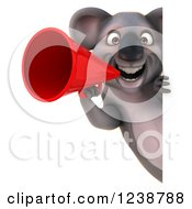 Clipart Of A 3d Koala Announcing With A Red Megaphone Around A Sign Royalty Free Illustration