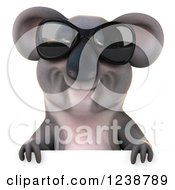 Clipart Of A 3d Koala Wearing Sunglasses And Smiling Over A Sign Royalty Free Illustration