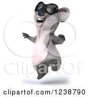Clipart Of A 3d Cheerful Koala Wearing Sunglasses And Jumping Royalty Free Illustration