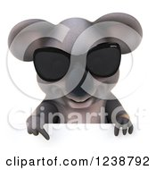 Clipart Of A 3d Koala Wearing Sunglasses And Pointing Down Over A Sign Royalty Free Illustration