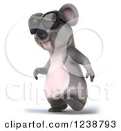 Clipart Of A 3d Koala Wearing Sunglasses And Walking To The Left Royalty Free Illustration