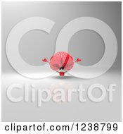 Clipart Of A 3d Red Brain Meditating Over Gray Royalty Free Illustration