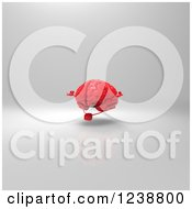 Clipart Of A 3d Red Brain Meditating Over Gray 2 Royalty Free Illustration