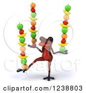 Clipart Of A 3d Red Springer Frog Balancing Fruit 2 Royalty Free Illustration