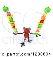 Clipart Of A 3d Red Springer Frog Balancing Fruit 3 Royalty Free Illustration