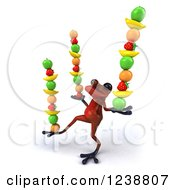 Clipart Of A 3d Red Springer Frog Balancing Fruit Royalty Free Illustration