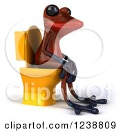Clipart Of A 3d Red Springer Frog Sitting On A Toilet 3 Royalty Free Illustration