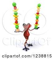 Clipart Of A 3d Red Springer Frog Balancing Fruit 4 Royalty Free Illustration