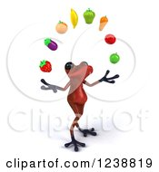 3d Red Springer Frog Under An Arch Of Fruit 3