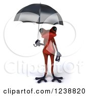 3d Red Springer Frog Sheltered Under An Umbrella