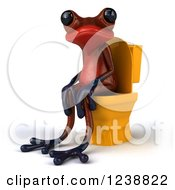 Clipart Of A 3d Red Springer Frog Sitting On A Toilet 2 Royalty Free Illustration
