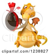 Clipart Of A 3d Yellow Dragon Holding A Chocolate Easter Egg Royalty Free Illustration