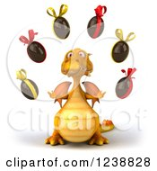 Clipart Of A 3d Yellow Dragon Juggling Chocolate Easter Eggs Royalty Free Illustration