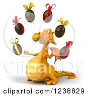 Clipart Of A 3d Yellow Dragon Juggling Chocolate Easter Eggs 2 Royalty Free Illustration