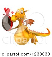 Clipart Of A 3d Yellow Dragon Flying With A Chocolate Easter Egg Royalty Free Illustration