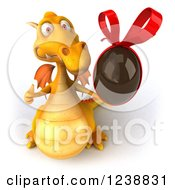 Clipart Of A 3d Yellow Dragon Holding A Thumb Up And Chocolate Easter Egg Royalty Free Illustration