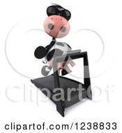 Clipart Of A 3d Cow Wearing Sunglasses And Running On A Treadmill Royalty Free Illustration