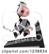 Clipart Of A 3d Cow Running On A Treadmill 2 Royalty Free Illustration