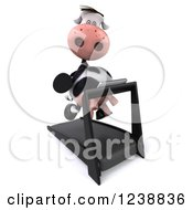 Clipart Of A 3d Cow Running On A Treadmill 4 Royalty Free Illustration