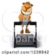 Clipart Of A 3d Camel Running On A Treadmill 2 Royalty Free Illustration