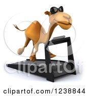 Clipart Of A 3d Camel Wearing Sunglasses And Running On A Treadmill 2 Royalty Free Illustration