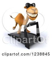Clipart Of A 3d Camel Wearing Sunglasses And Running On A Treadmill 3 Royalty Free Illustration