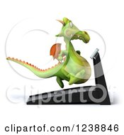 Clipart Of A 3d Green Dragon Running On A Treadmill 2 Royalty Free Illustration