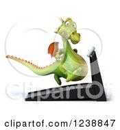 Clipart Of A 3d Green Dragon Running On A Treadmill 3 Royalty Free Illustration