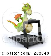Clipart Of A 3d Green Dragon Running On A Treadmill 4 Royalty Free Illustration
