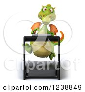 Clipart Of A 3d Green Dragon Running On A Treadmill Royalty Free Illustration