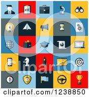 Clipart Of Colorful SEO And Website Icon Squares Royalty Free Vector Illustration